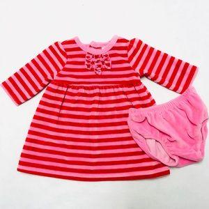 Baby girl pink & red velvet dress set 3 months